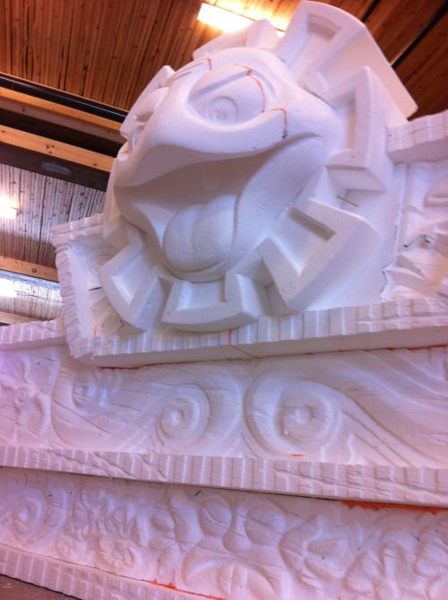 Polystyrene foam carvings. 13' x 5' and 2' round.