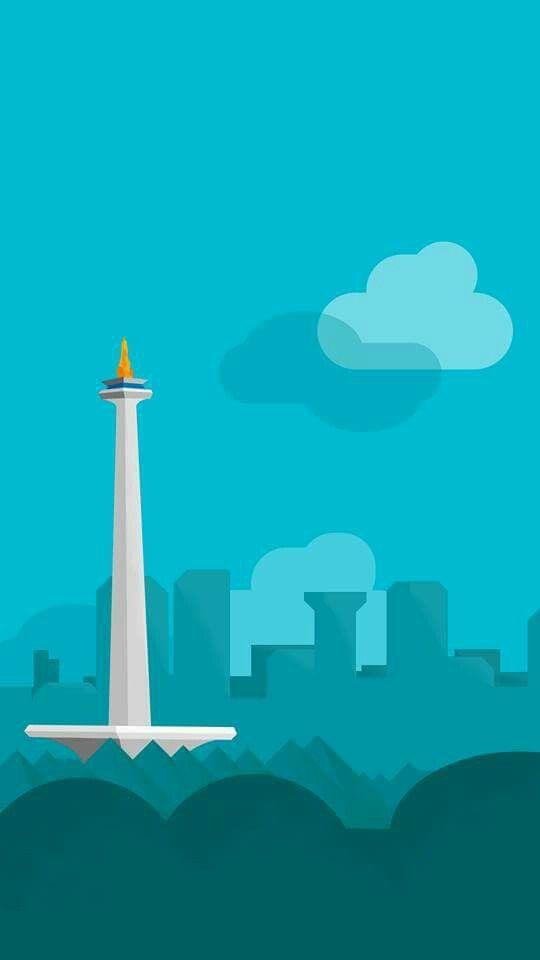 Monas In Jakarta City Location Indonesia Ilustrasi Illustration Seni