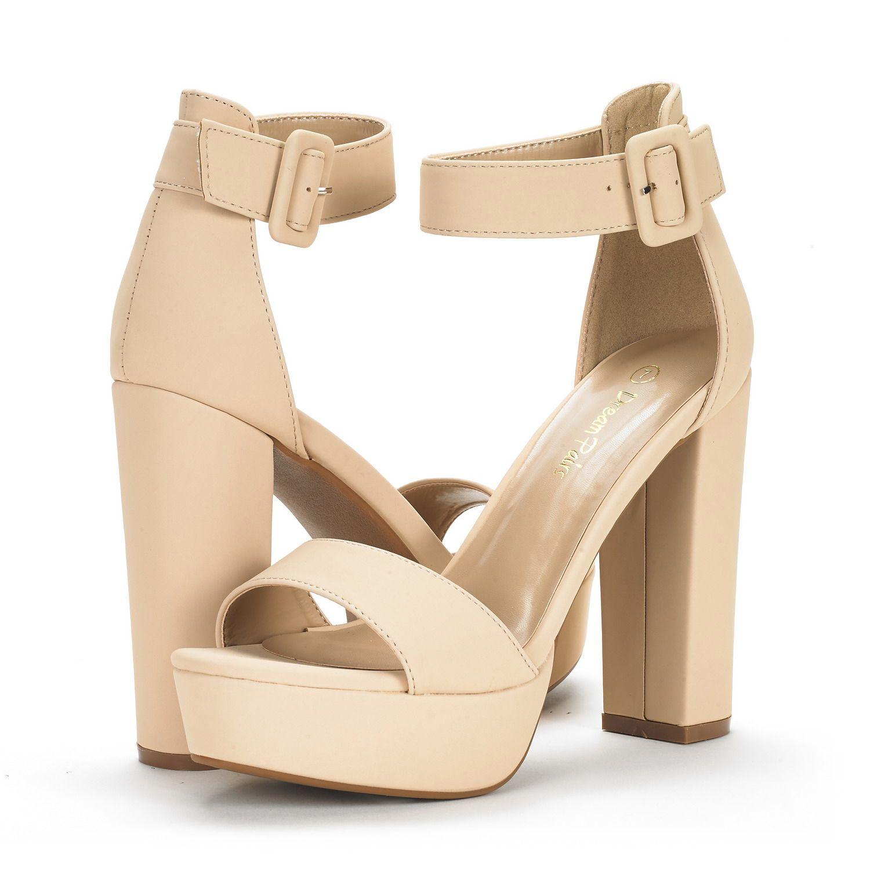 DREAM PAIRS HI-LO Womens Evening Dress High Chunky Platform Heel Open Toe Ankle Strap Stiletto Wedding Pumps Sandals