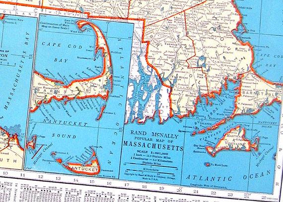 Massachusetts michigan map 1942 vintage book page old map from massachusetts michigan map 1942 vintage book page old map from world atlas 2 gumiabroncs Gallery