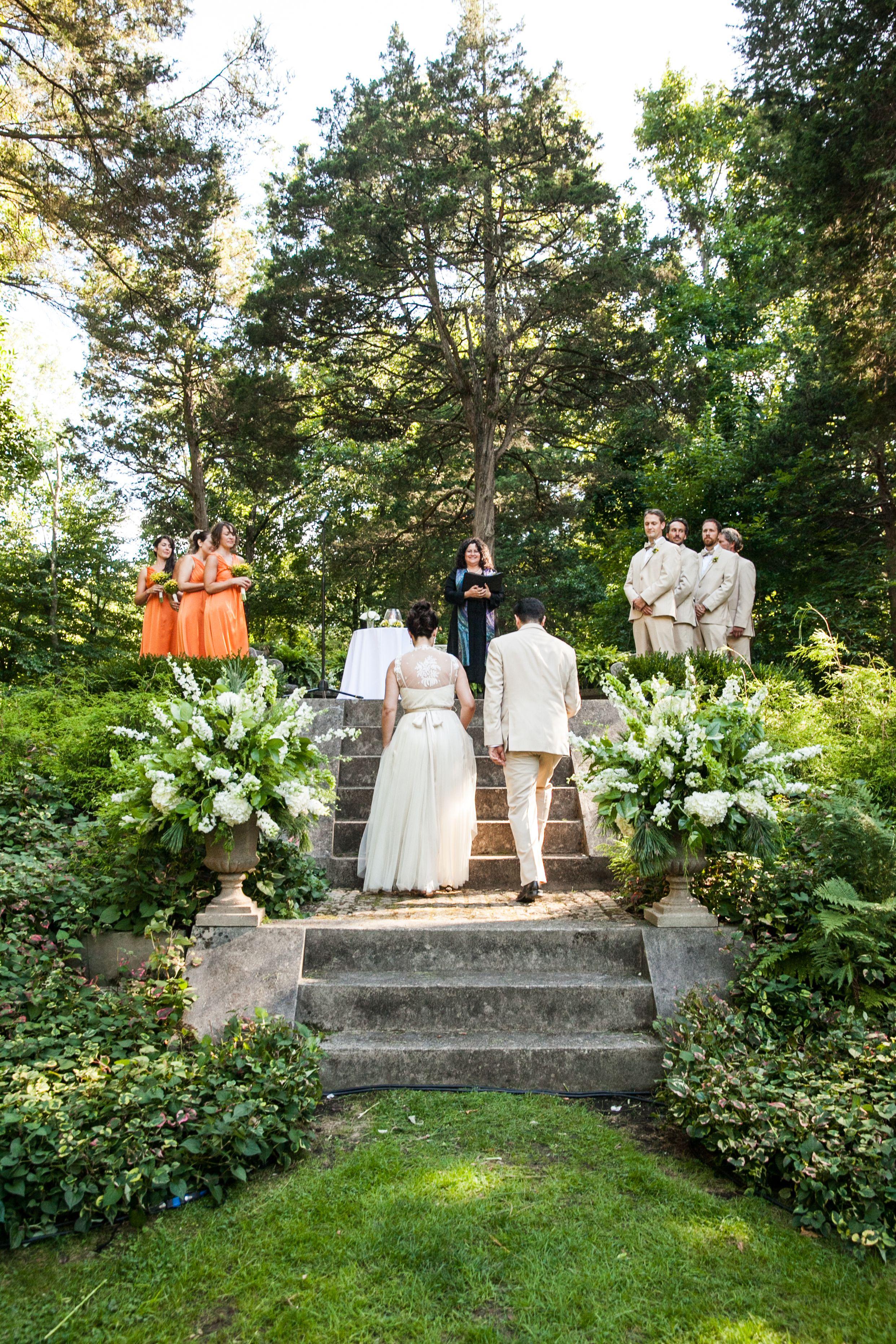 Outdoor ceremony in the sunken gardens. wedding