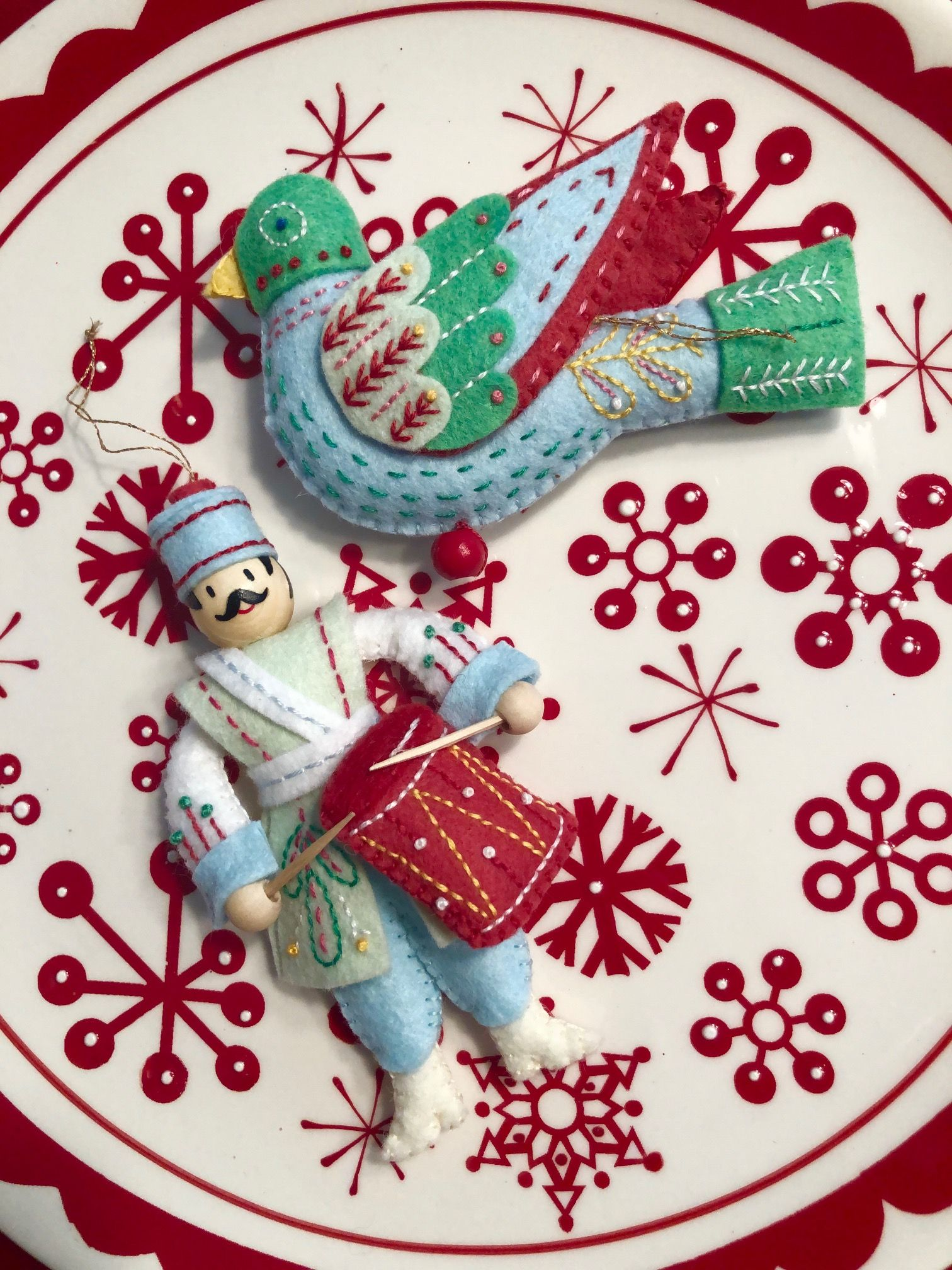 Woolfelt 12 Days Of Christmas Ornaments Felt Christmas Ornaments Felt Crafts Felt Ornaments