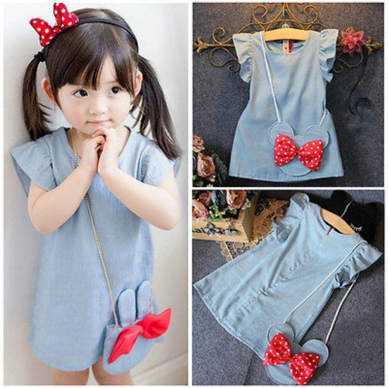 Fashion Princess Kids Baby Girls Dress Minnie Mouse Denim Party Dresses Bag