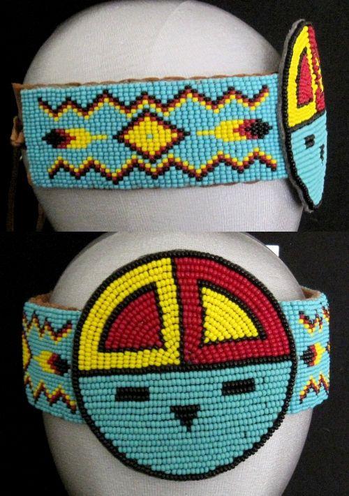 Native american beaded rosettes strips headbands words... super