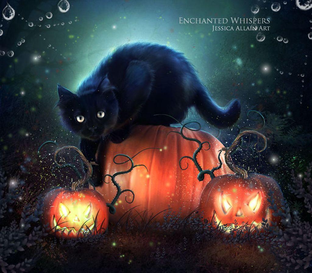 Black Cat Halloween Wallpaper | Black cat art darkness halloween ...