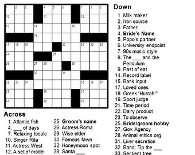 Custom Crossword Puzzle 15x15 Etsy In 2020 Crossword Puzzles Crossword Puzzle Crossword