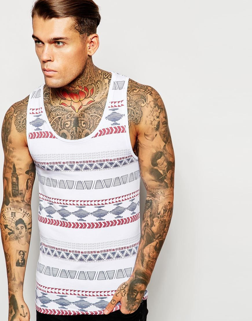 Have a look at this ASOS Extreme Muscle Fit Singlet In Aztec Print With  Stretch -