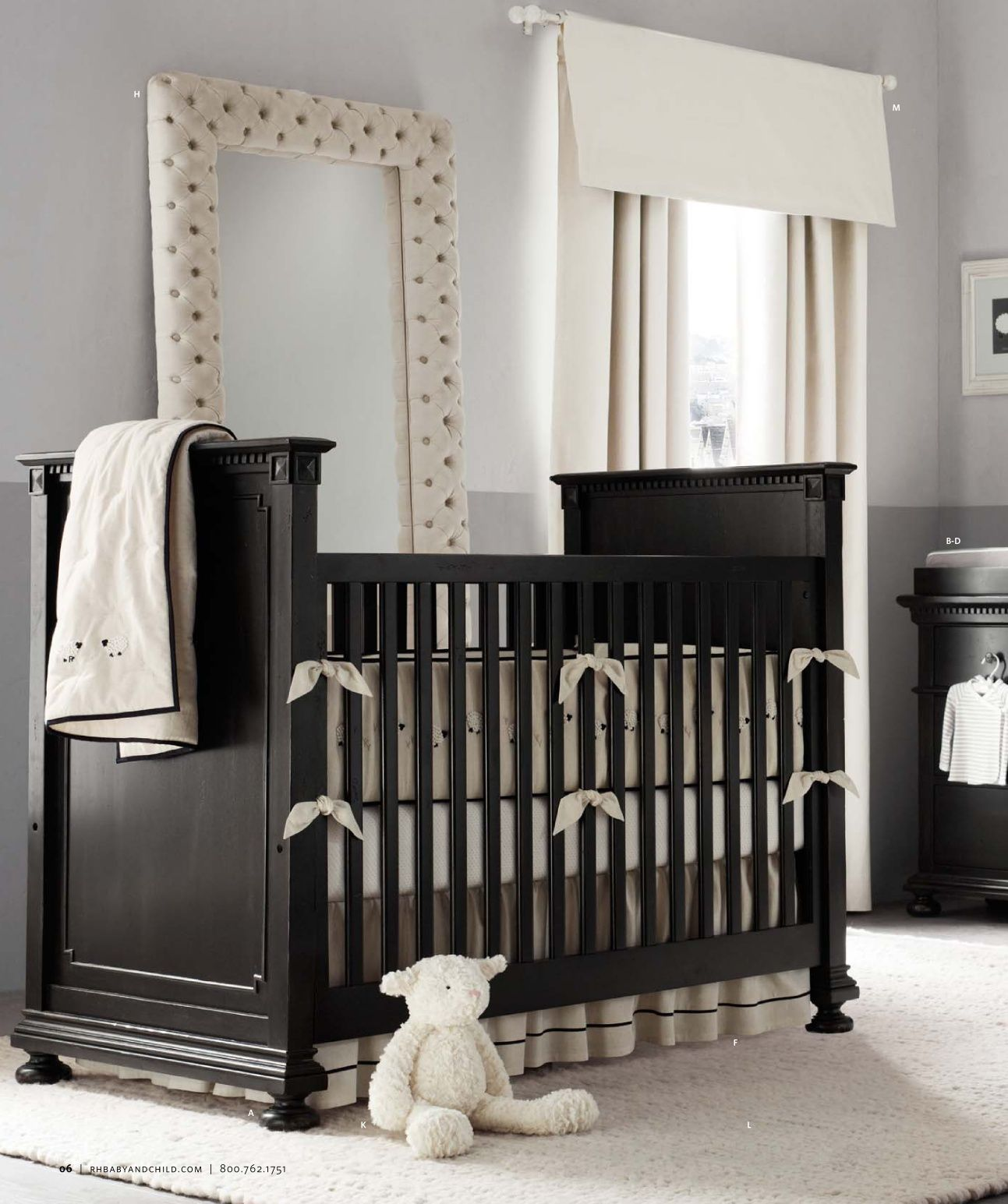 Love the neutral color with the dark wood crib.  Very sophisticated!