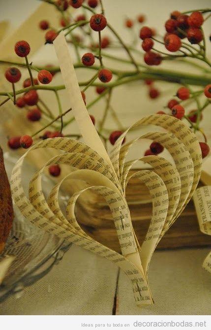 Ideas para decorar una boda barata con corazones de papel - Libros para decorar ...