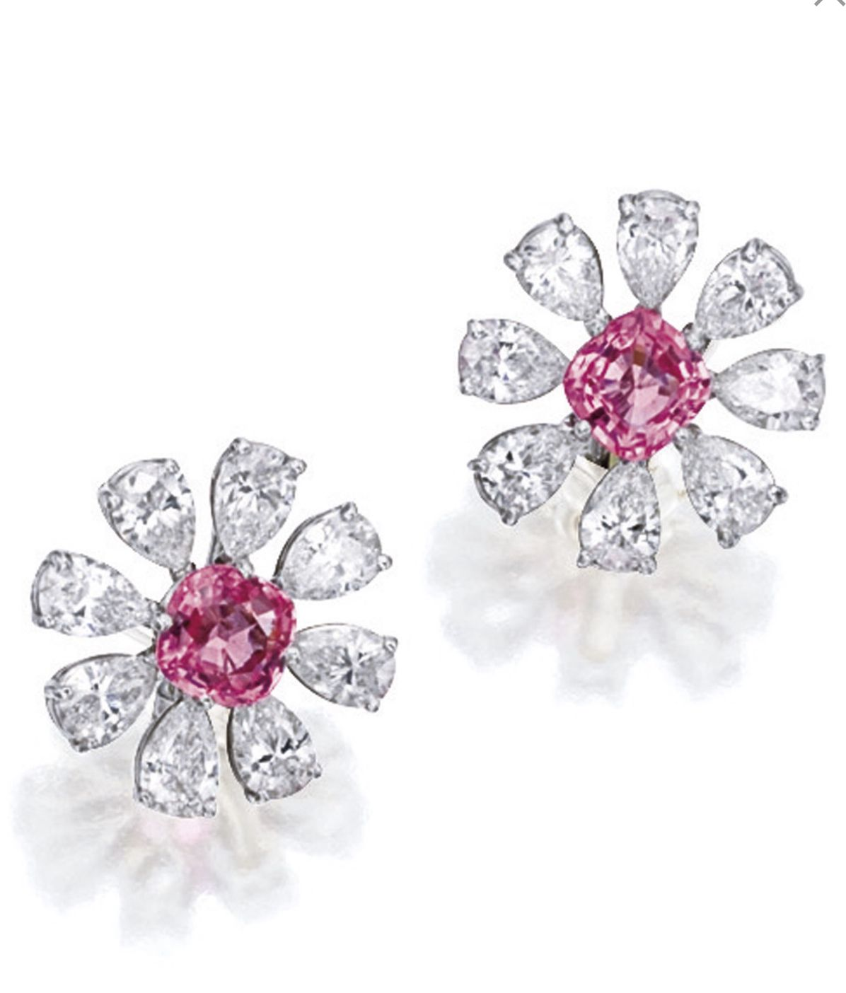 asscher cut sapphire designer dakota page drop earrings padparadscha collections peach deller