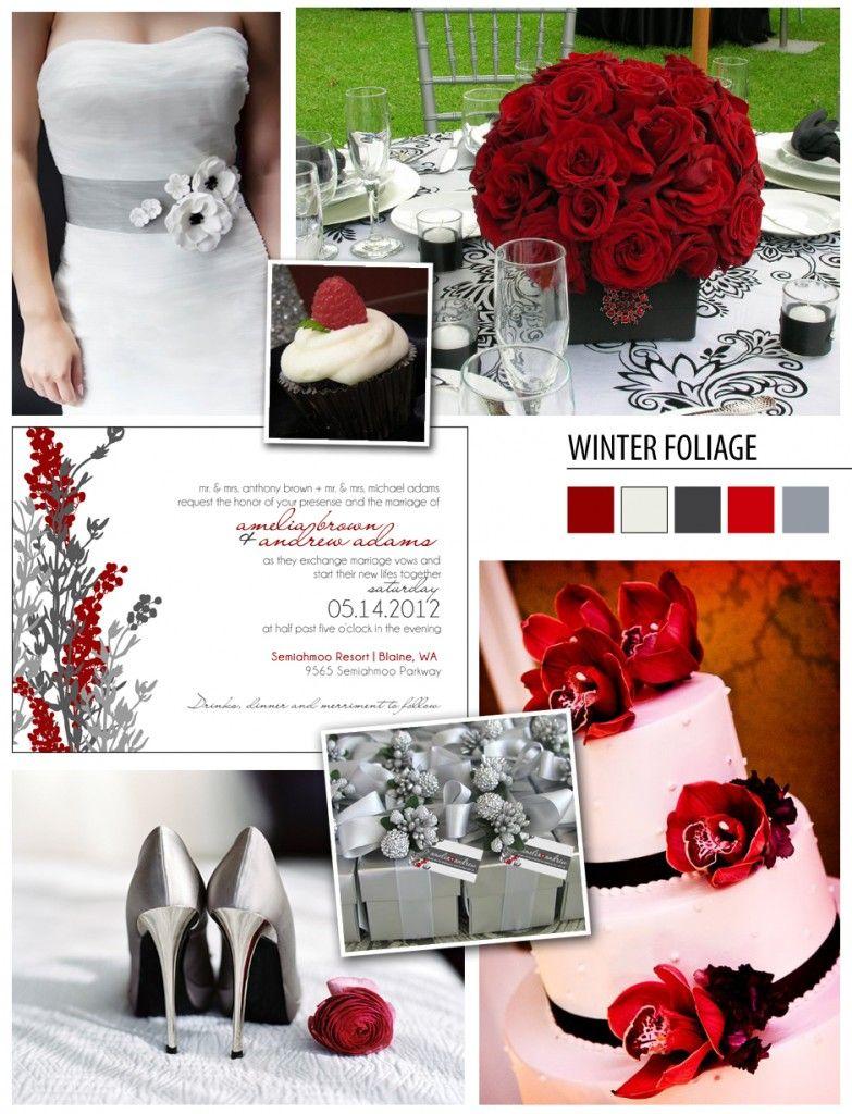 Red and black wedding decor  Love GrayRuby RedWhite winterfoliageinspirationboard  Grey