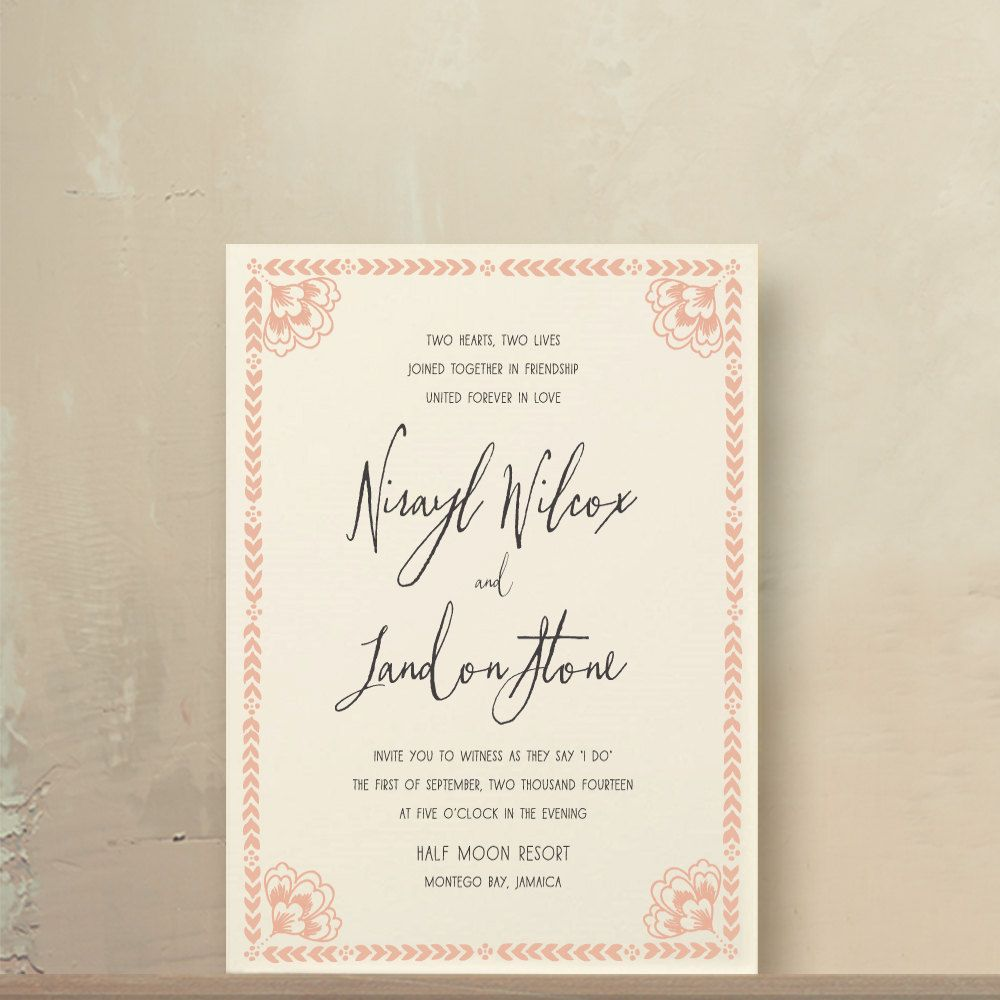 Blush Pink Kalligraphie Hochzeitseinladungen von oakandorchid