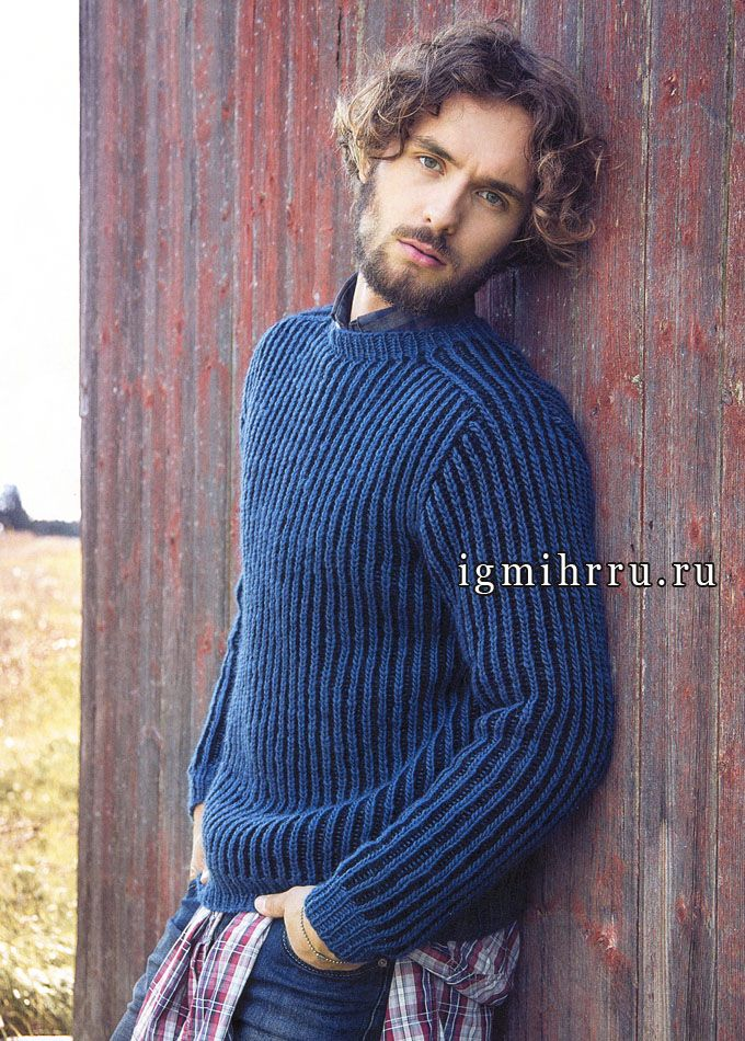 Мужской двухцветный пуловер из чистошерстяной пряжи. Спицы ...