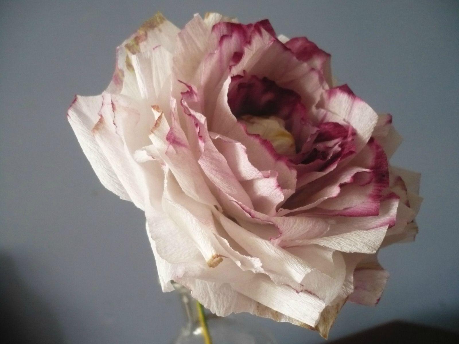 Rose en papier cr pon d lav mariage pinterest rose en papier crepon rose en papier et - Fabriquer des fleurs en papier crepon ...