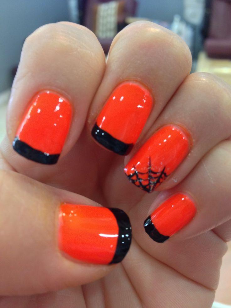 Halloween manicure with spider web. Halloween manicure ...