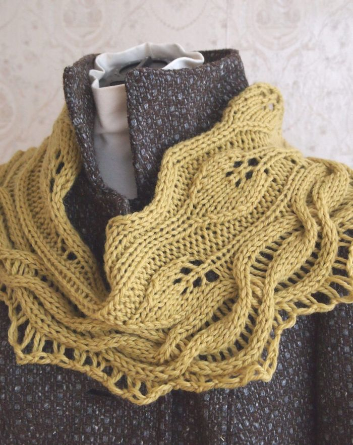 Knitting Pattern for Green Leaves Cowl - This shoulder cozy is a ...
