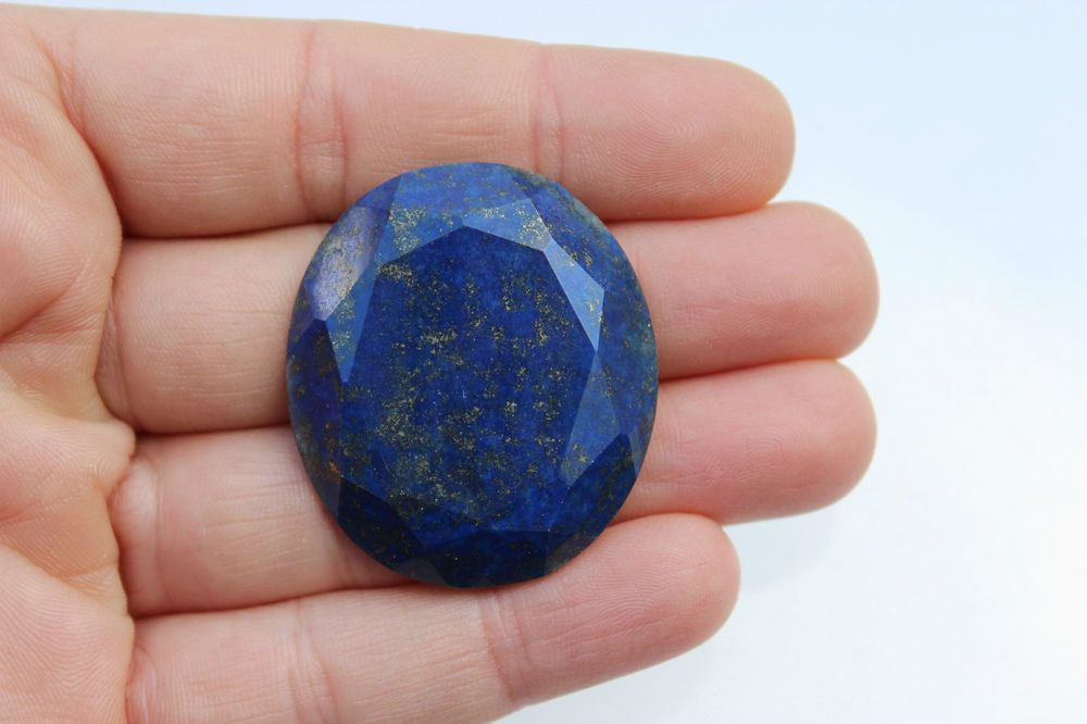 PICTURED   67 CT   lapis lazuli cabochon oval stone faceted genuine lapidary    eBay