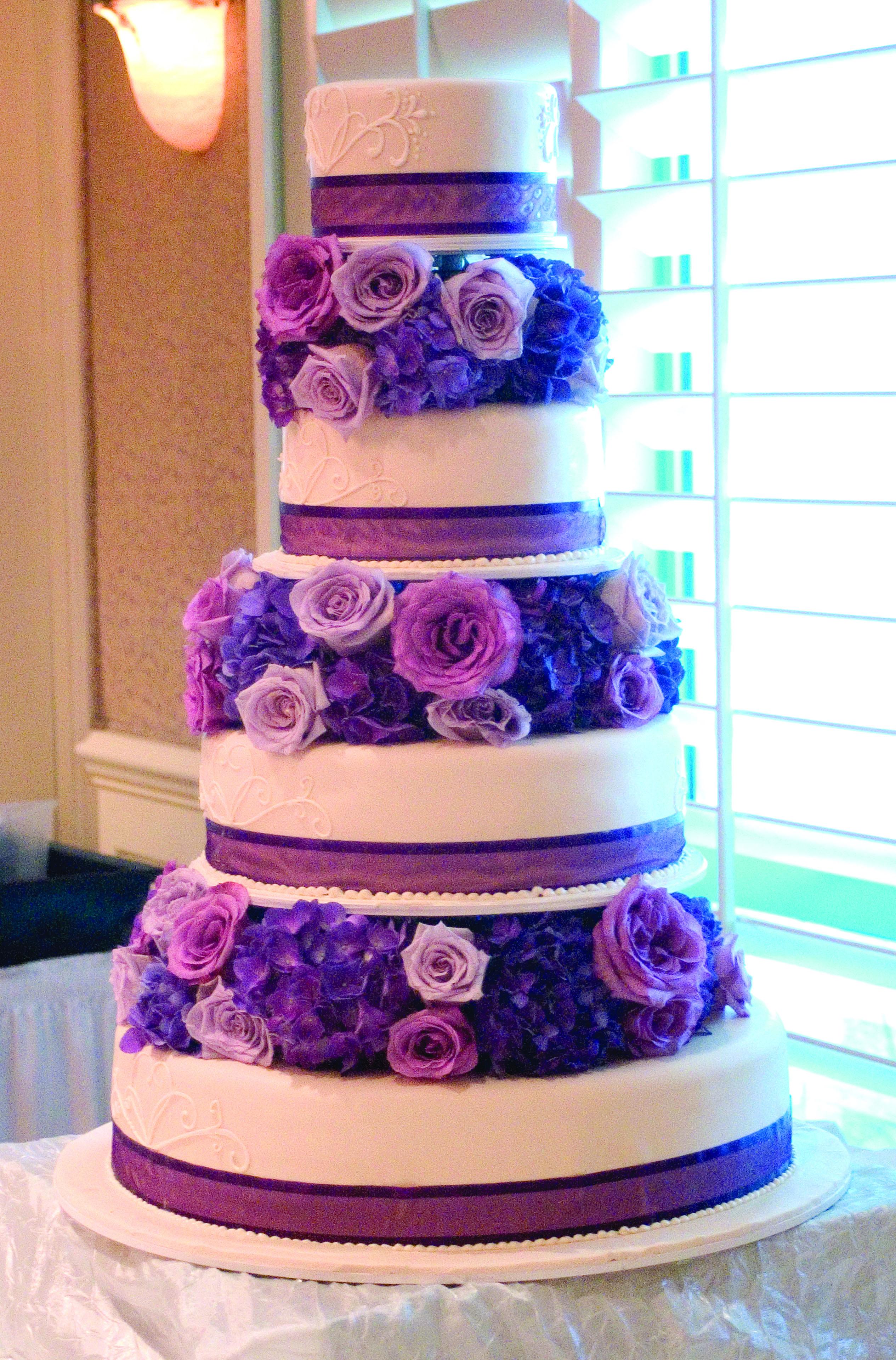 Friend Wedding Purple Flower Cake