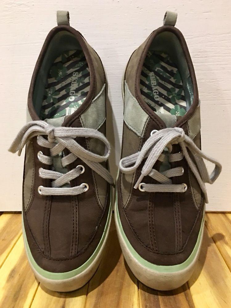 dbc1ffe7faf8 Sebago Wanderer Womens Shoes Sneakers Leather Coffee Light Green Size 8