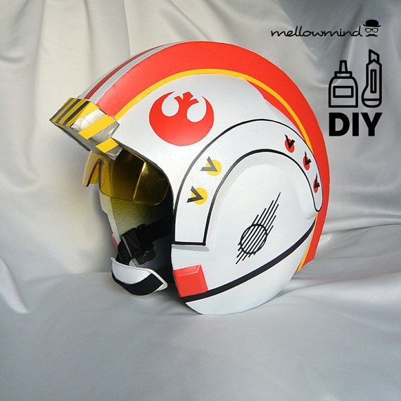 Diy Star Wars Clic X Wing Helmet Templates For Eva Foam Etsy