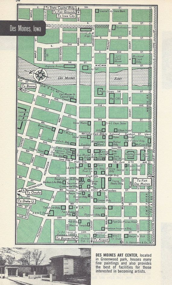 Des Moines Iowa Map City Map Street Map 1950s 2 Sided Etsy Colorado Map Street Map City Maps