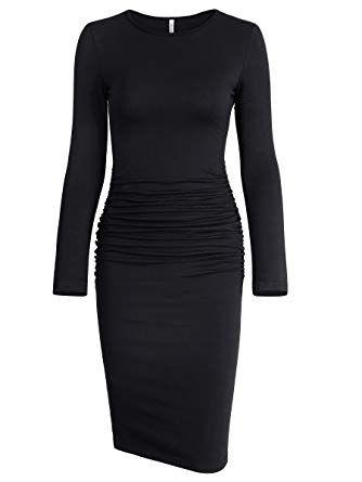 a1e406dee55f Missufe Women's Ruched Casual Sundress Midi Bodycon Sheath Dress (Small, Long  Sleeve Black)