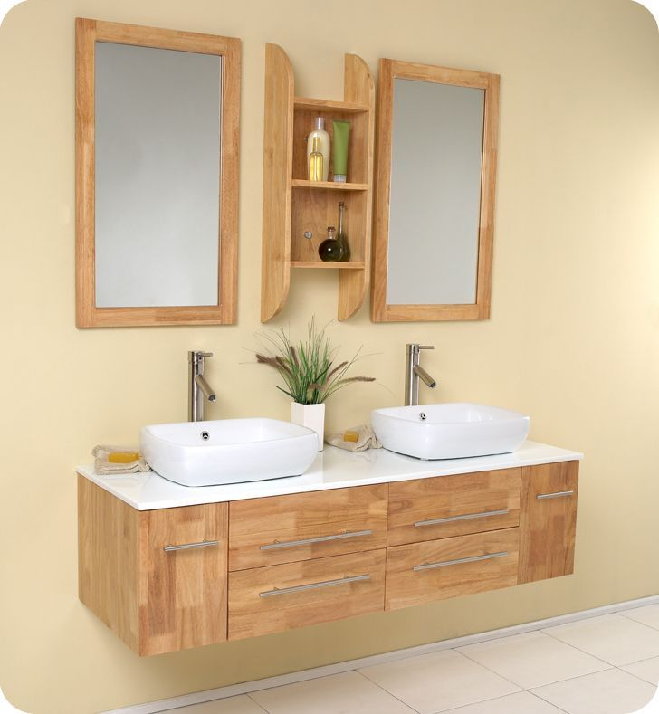 Bellezza 59 Inch W Vanity In Natural Wood Finish With Double