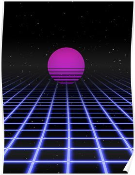 80s Digital Horizon Sunset Aesthetic Poster By Coluch