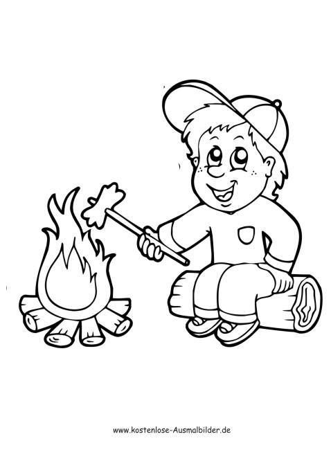 ausmalbild camping  junge am feuer  ausmalen