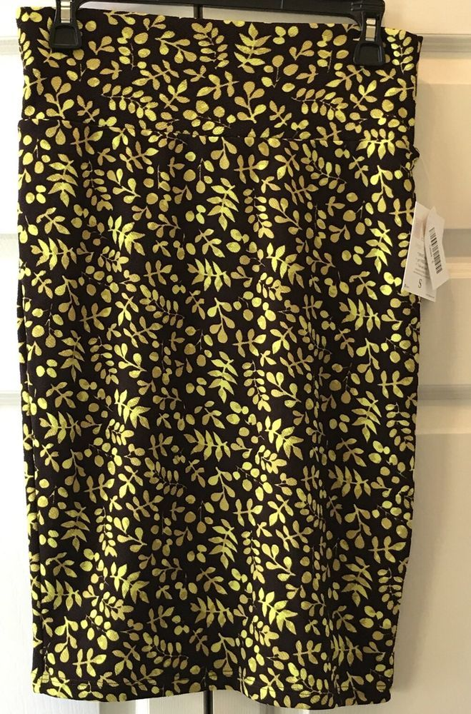 LuLaRoe Cassie Skirt Size Small Brown Yellow Leaves Office Yoga Waist LLR New