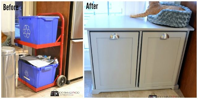 diy recycling centre clever kitchen storage bathroom storage solutions beginner woodworking on kitchen organization recycling id=87122
