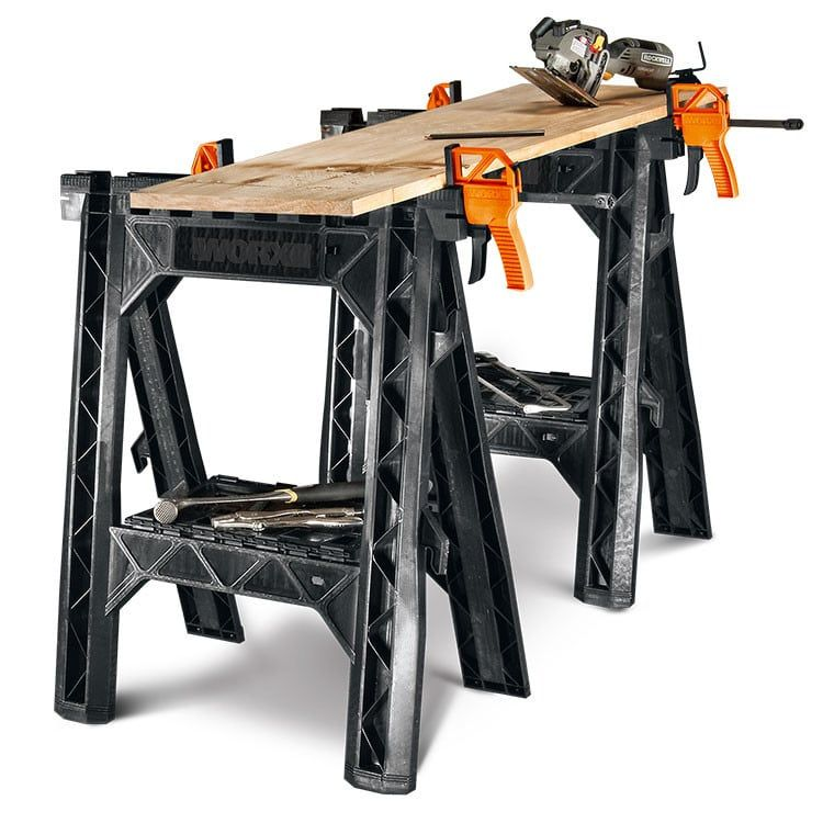 Clamping Sawhorses With Bar Clamps Wx065 Worx Home Decor Sawhorse Interior Design Living Room