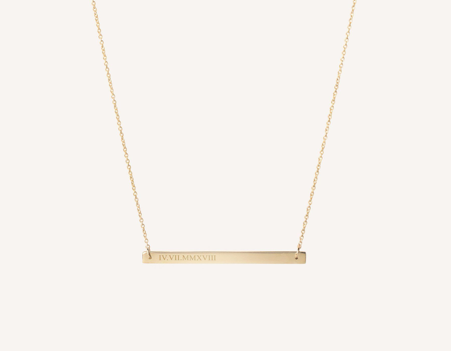 Personalized Engraving 14k Solid Gold Bar Necklace On Dainty 17 Chain By Vrai And Oro Minimali Fine Jewellery Necklace Solid Gold Necklace Gold Necklace Women