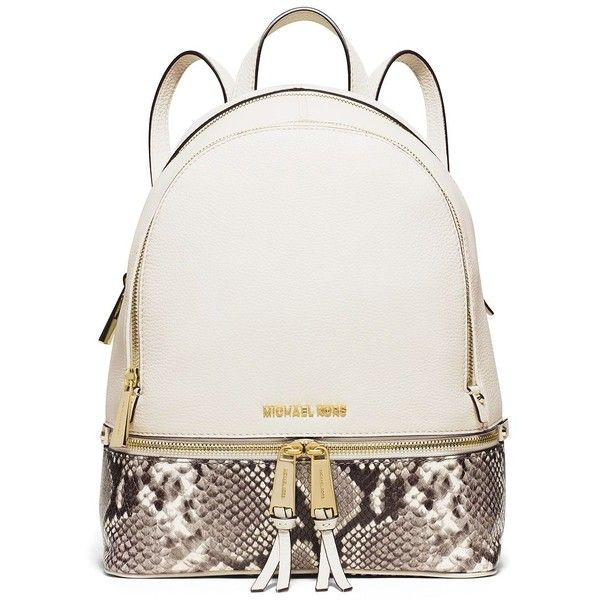 ad6fdc673f MICHAEL MICHAEL KORS Rhea Small Leather   Snake-Embossed Zip Backpack  (1