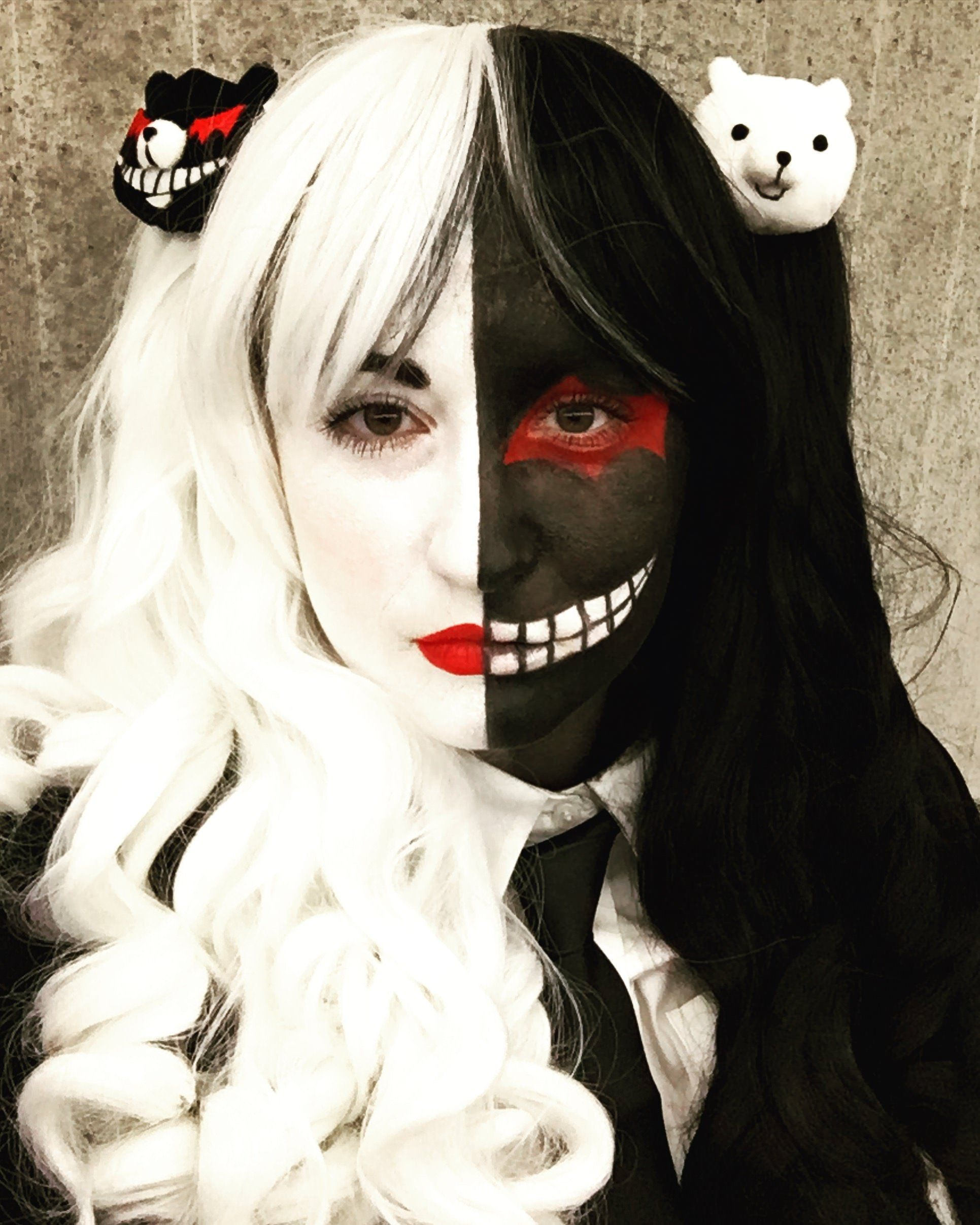 Self Female Monokuma From Danganronpa For Nycc My First Time Trying Full Face Paint Cosplay Danganronpa Cosplay Cosplay Tutorial