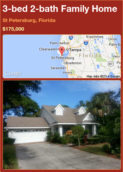 3-bed 2-bath Family Home in St Petersburg, Florida ►$175,000 #PropertyForSale #RealEstate #Florida http://florida-magic.com/properties/85582-family-home-for-sale-in-st-petersburg-florida-with-3-bedroom-2-bathroom