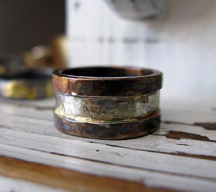Rustic Mens Wedding Band Handmade Mens Wedding Ring Oxidized Silver