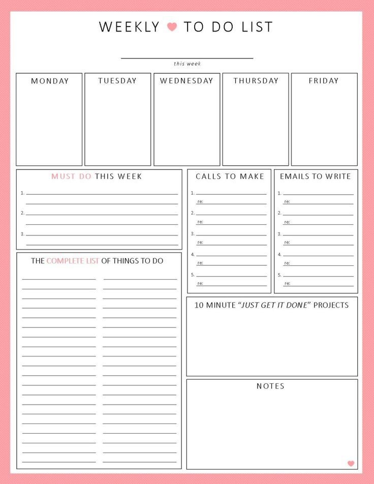 weekly planner printable printable worksheet weekly agenda