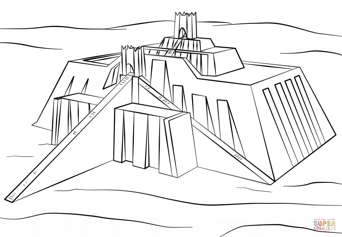 Ziggurat Of Ur Coloring Page