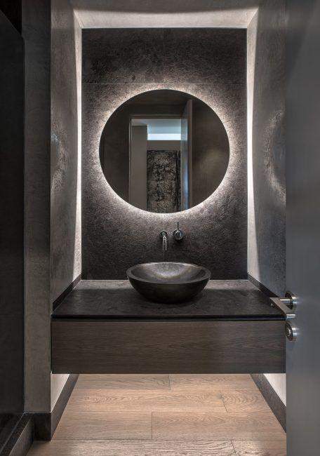 Dark brown granite powder room   Marta Bastianello… – #Bastianello #Brown #Dar…