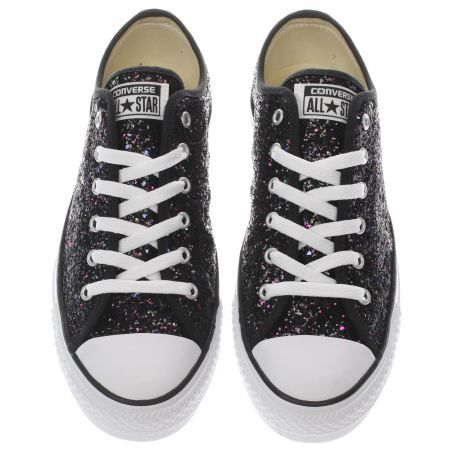 womens converse black & purple all star glitter ox trainers ...