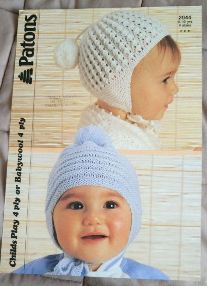 Baby Child Hats Helmets Patons Knitting Pattern 4 Ply Yarn 2 Designs