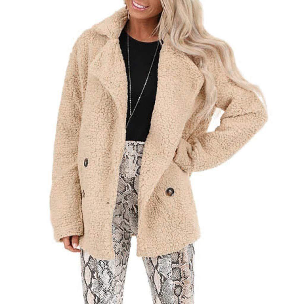 Ruive Women S Faux Fur Cardigan Plus Size Pocket Fuzzy Warm Winter Loose Outwear Ladies Lapel Casual Co Long Coat Jacket Faux Fur Cardigan Women S Puffer Coats [ 1024 x 1024 Pixel ]