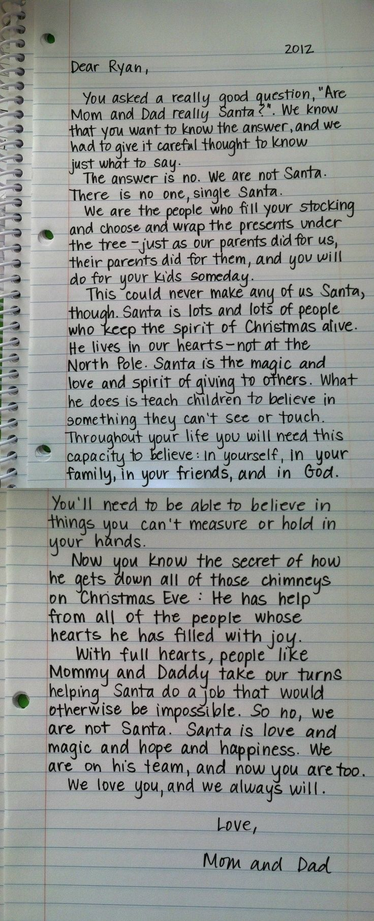 Sweet way to tell a child the truth about Santa Original letter
