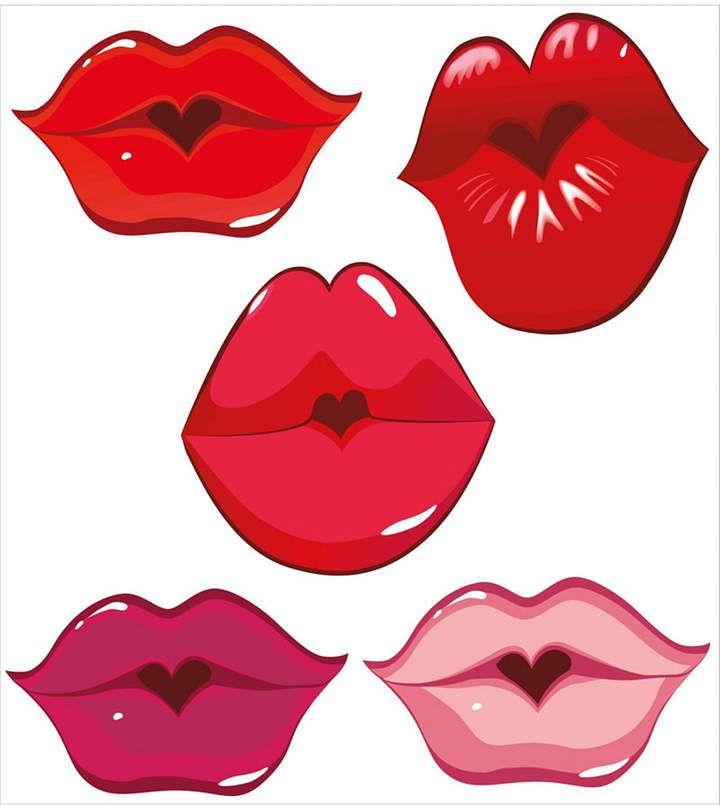 Ambesonne Kiss Place Mats Set Of 4 Lip Stencil Clip Art Crafts