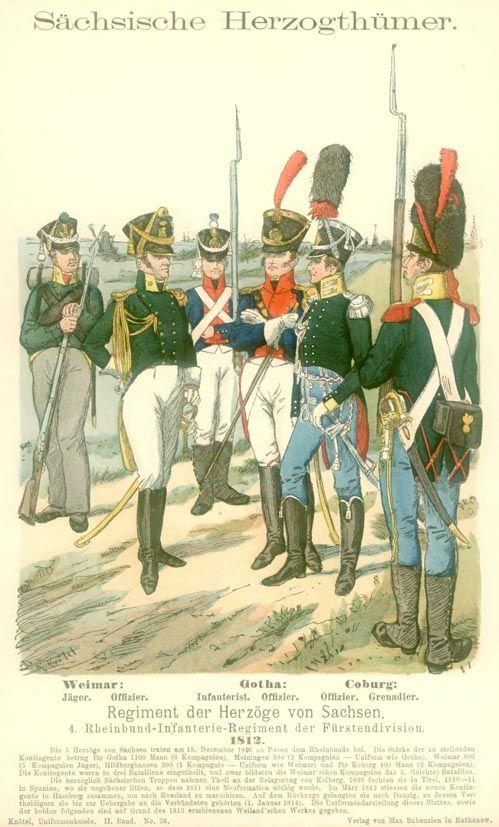 Knötel-Tafel 2/26 . Sächsische Herzögtümer. Regiment der Herzöge von Sachsen. 4. Rheinbund-Regiment der Fürstendivision. 1812.