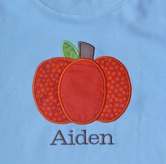 Fall Pumpkin Monogrammed Onesie or Shirt Pumpkin by KalamityKids, $24.00