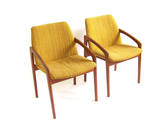 vintage teak chairs wood lounge dining chairs harvest gold mustard yellow armchairs mid century modern denmark