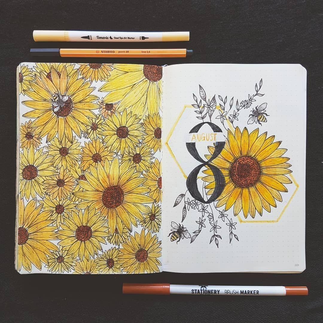 August Bullet Journal Sunflowers _ Sunflowers Bullet Journal