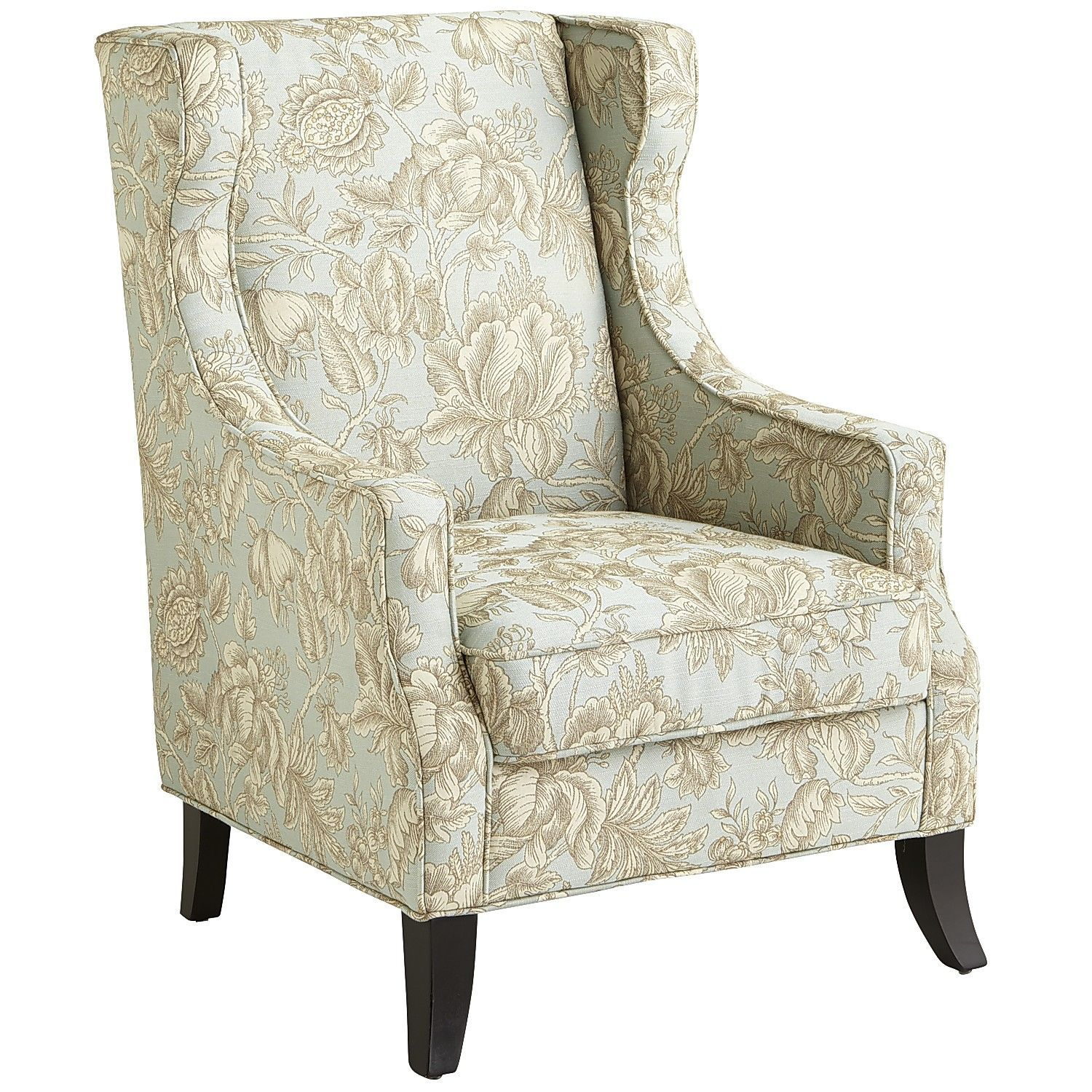 Alec Blue Floral Wing Chair Wing chair, Wingback chair